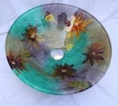 Színes virágos üveg mosdókagyló