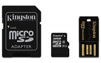 Kingston MicroSDHC 32GB CL10 memóriakártya + adapter+ USB kártyaolvasó