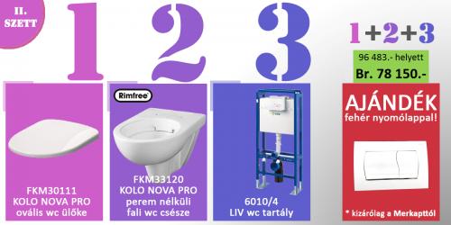 WC SZETT AKCIÓ 1 TARTÁLY + NYOMÓLAP + FALI WC + ÜLŐKE