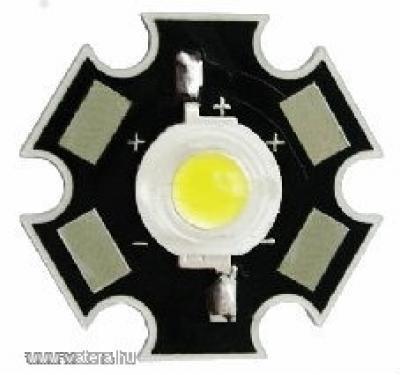 1w melegfehér LED - Hűtőbordára forrasztva!