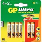 1,5V  AAA mikro ultra alkáli GP elem 6db-os csomagban
