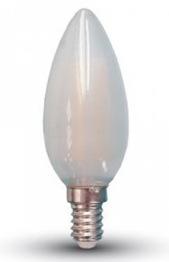 V-TAC 6W E14 Filament LED 400lm meleg fehér (2700K) opál, gyertya alak