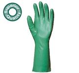 Zöld 36 cm-es, végig mártott nitrilkesztyű, vizes közegben, mechanikai