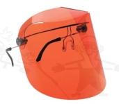 Labor arcvédő, narancs, felhajtható, vegyszerálló acetát, szemüveg szá