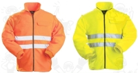 Narancs fluo polár pulóver  lecipzározható ujjakkal,  fényvisszaverő