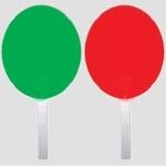 Forgalomirányító jelzőtárcsa, 30 cm átmérőjű, piros-zöld 70297-es