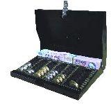 FKET hordozható pénztárkassza forint érmetálcával, cilinder zárral