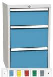 DPK-01-A fiókos műhely konténer, 3 fiókkal, központi zárral