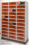 Postafiók-szekrény 3x11 rekesz, cilinder zár, választható ajtószín