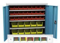 SPP 01 C alkatrésztároló szekrény 4 polccal, 34 db box-szal
