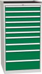 DPO 05 C műhelyszekrény 10 fiókkal, munkafelülettel, 1350 mm magas