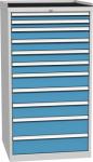 DPO 05 D műhelyszekrény 11 fiókkal, munkafelülettel, 1350 mm magas