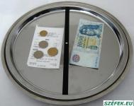 KF-2 kör alakú forgó pénzátadó tálca, fényes rozsdamentes