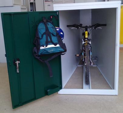 BIKETREZOR zárható, kültéri kerékpár megőrző/tároló fémszekrény