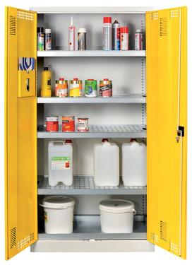 SCH 01A vegyszer tároló szekrény 4 polccal, kifolyásgátlókkal