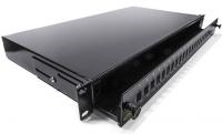 "Optikai 19"" kihúzható patch panel, 1U, 24xSC, LC duplex, E2000 toldó s"
