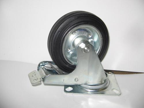 Forgófékes talpas kerék 125 mm fekete gumis