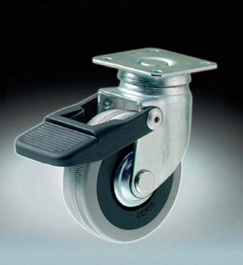 Kerék  szürke gumis talpas forgófékes  50 mm