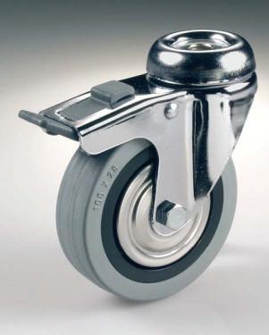 Kerék  szürke gumis felcsavarozható fékes 60 mm