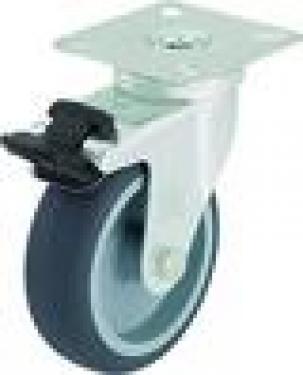 Kerék  szürke gumis talpas forgófékes  75 mm