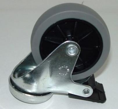 Felcsavarozható kerék szürkegumis  fékes  75 mm