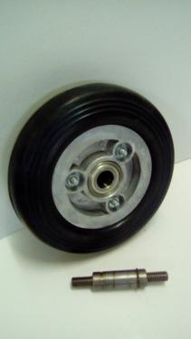 Kerék  fekete gumis golyóscsapágyas átmenőtengelyes 200 mm