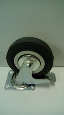 Kerék  szürke gumis golyóscsapágyas talpas forgófékes  100 mm