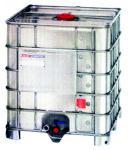 1050 literes IBC tartály - áttetsző, fém borítással