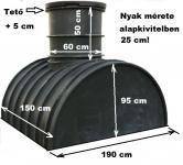 2.2. <> 2,1 m3-es PEE műanyag - fekvő - esővíz gyűjtő tartály + tető