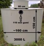 3.2. <> 3 m3-es PP./PE.  műanyag szennyvíz tartály, lépésálló tetővel