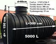 5.2. <> UNITANK - 5 m3-es műanyag szennyvíz tartály, lépésálló tetővel