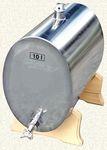 016. 10 / 16 L-es rozsdamentes acél bortartály / pálinkatartály, ovális, fekvő, fa talp