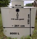 7.3. <> 8 m3-es PP./PE.  műanyag esővíz gyűjtő tartály + lépésálló tető