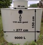 7.5. <> 9 m3-es PP./PE. műanyag szennyvíz tartály, lépésálló tetővel