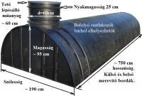 7.8. <> 10,5 m3-es PESZ műanyag - fekvő - szennyvíz gyűjtő tartály + tet