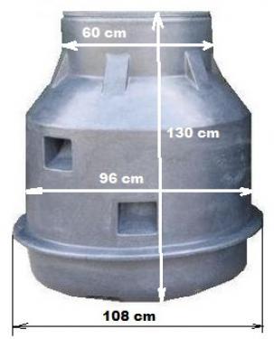 1. DN 1000/1300 műanyag vízóraakna - erősített- lépésálló tetővel