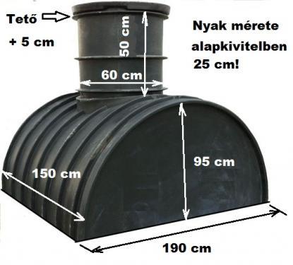 2.2 <> 2,1 m3-es PEE műanyag - fekvő - esővíz gyűjtő tartály + tető