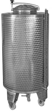 3.1. <> 500 L-es, KEREKES, rozsdamentes acél, állóhengeres száll. tartály
