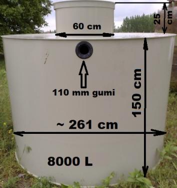 7.3. <> 8 m3-es PP./PE.  műanyag szennyvíz tartály, lépésálló tetővel