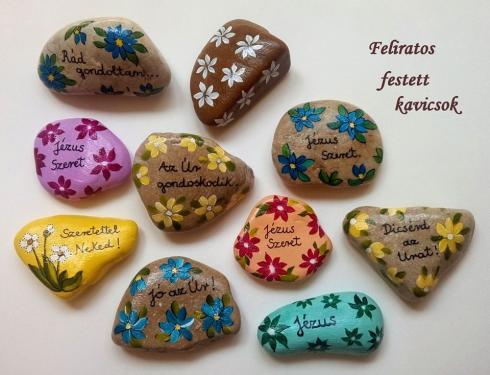 Feliratos kézzel  festett kavics  ÚJDONSÁG