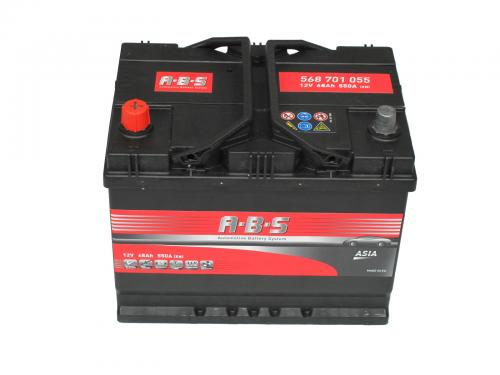 ABS 12V 68Ah bal+ normál sarus indító akkumulátor ASIA