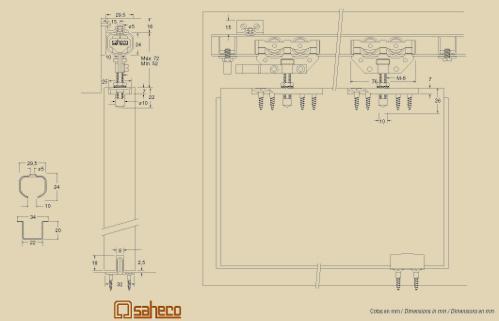 SF-40/75 alsó tolóajtósín 3 fm-es