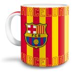 Barcelona porcelán bögre piros/sárga