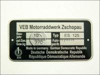 MZ/ES 125 TÍPUSTÁBLA /ES125/ 840113 -HUN
