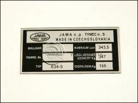 JAWA 350  6V TÍPUSTÁBLA /634-5/ 634-5 -HUN