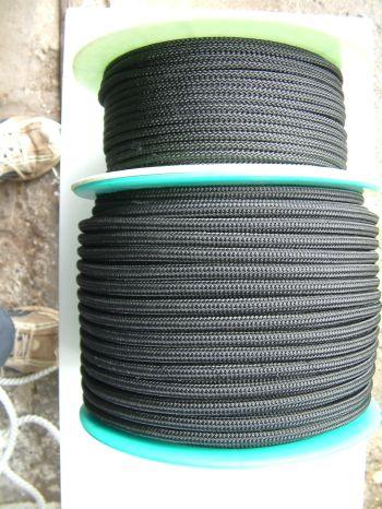 Fekete fonatolt kötél átm.6mm