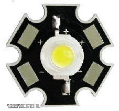1w hidegfehér LED - Hűtőbordára forrasztva!