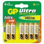 1,5V AA ceruza ultra alkáli GP elem 6db-os csomagban