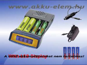 Akkutöltő MW6678 autós adapterrel