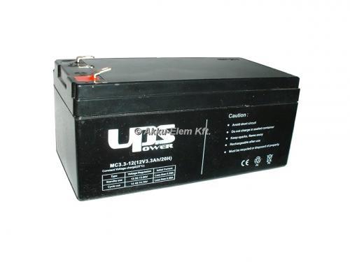 UPS Power 12V 3,3Ah ólom-zselés akku